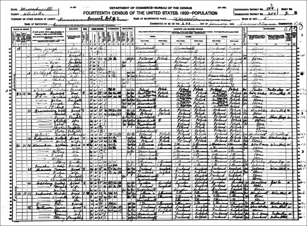 Kostanty Niedzialkowski in the 1920 US Federal Census
