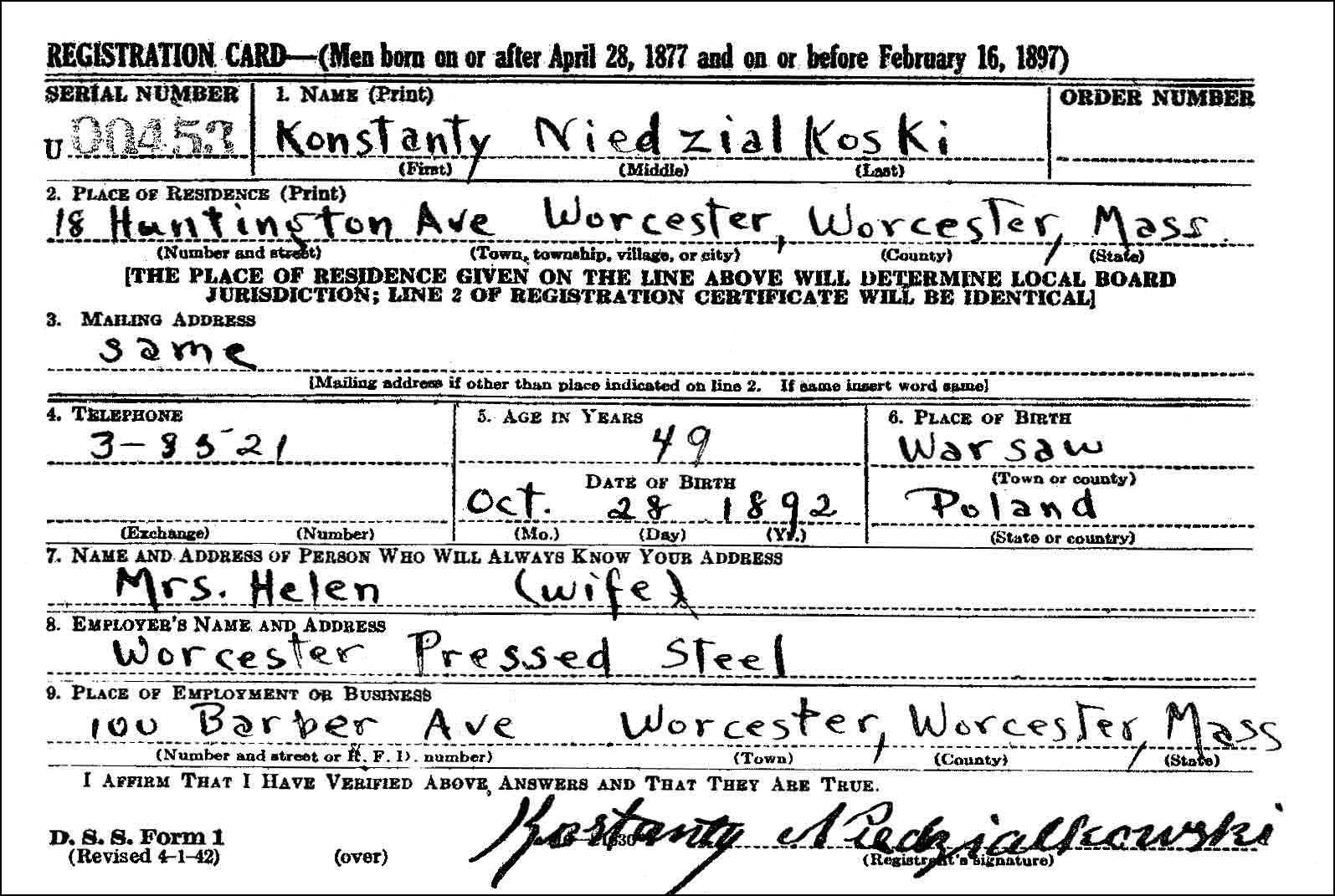 WWI Draft Card KN Obverse