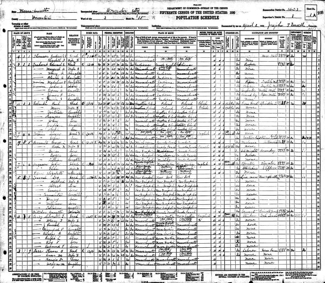 1930 Census Record for Paul Golinski