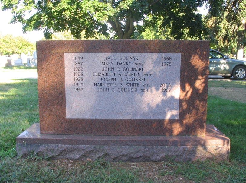 Golinski Monument - Reverse