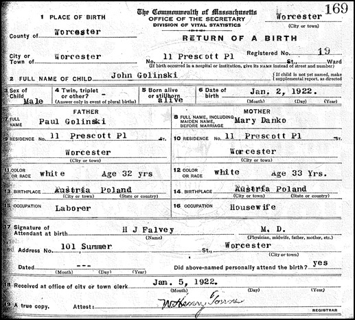 John Golinski Birth Record