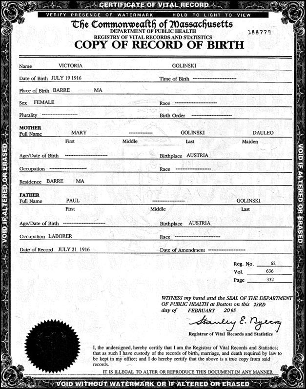 Victoria Golinski Birth Record