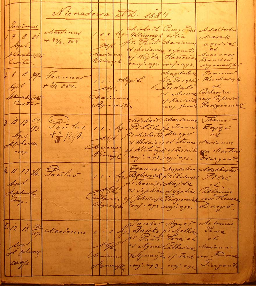 The Birth and Baptimal Record for Marianna Dańko - 1884