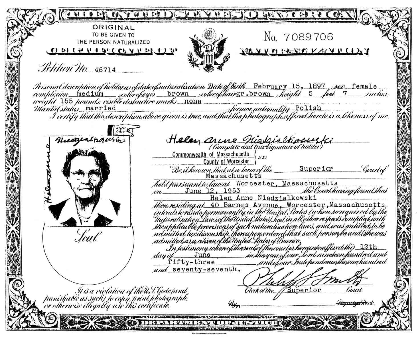 Certificates of citizenship steves genealogy blog helen niedzialkowskis certificate of naturalization xflitez Image collections