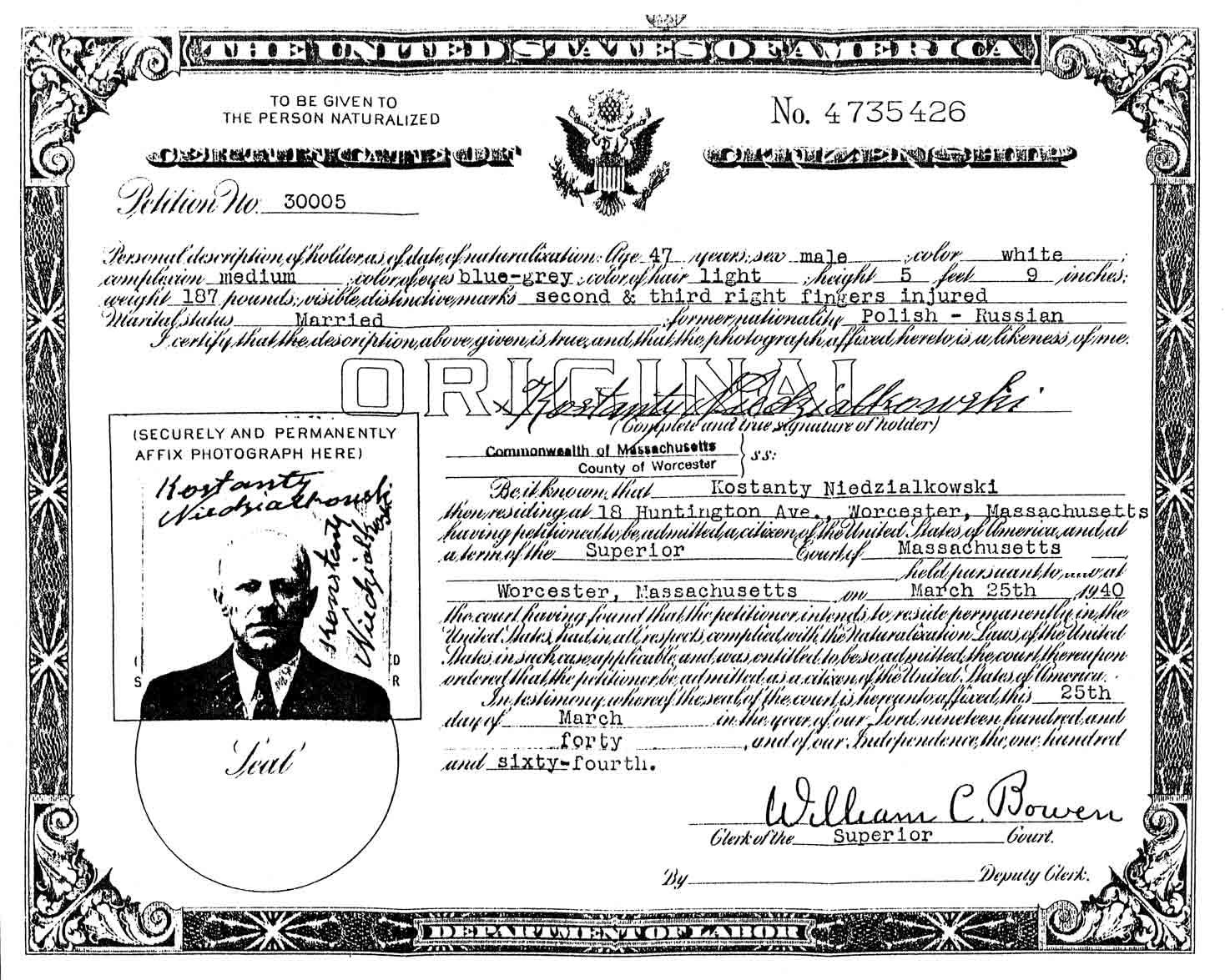 Certificates of citizenship steves genealogy blog kostanty niedzialkowskis certificate of naturalization xflitez Choice Image