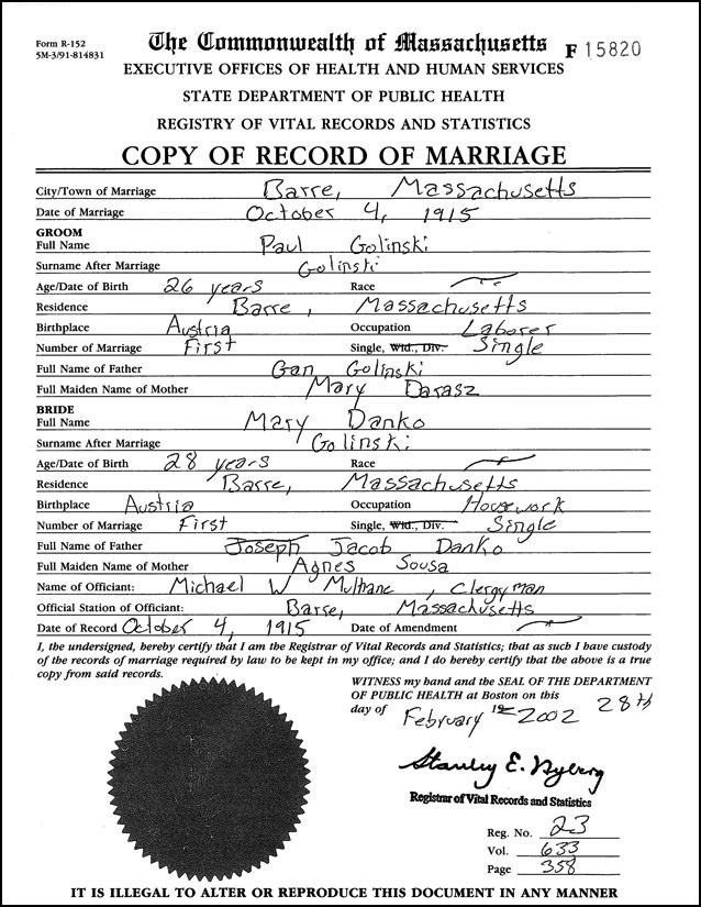 Golinski Danko Marriage Record