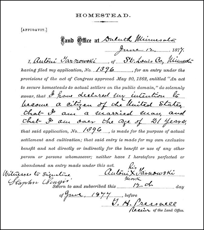 The Homestead Affidavit of Antoni Tarnowski