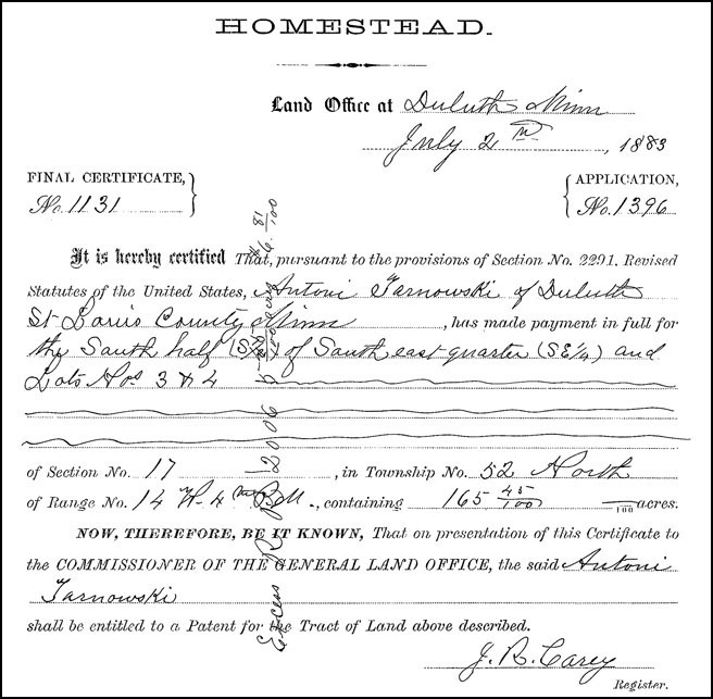 Final Homestead Certificate of Antoni Tarnowski