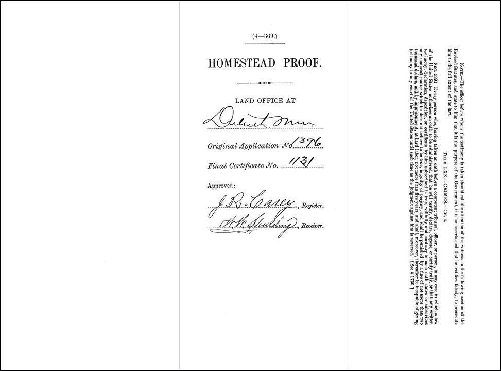 Cover of Homestead Proof of Antoni Tarnowski