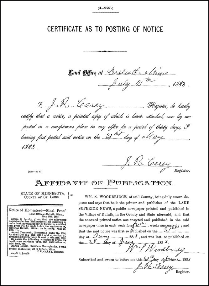 Publication of Notice of Proof