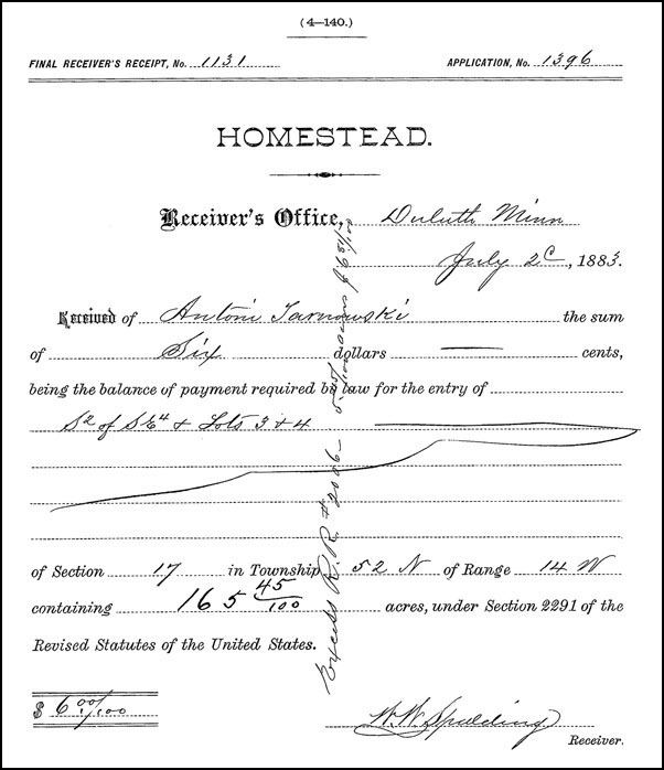 Homestead Receipt of Antoni Tarnowski