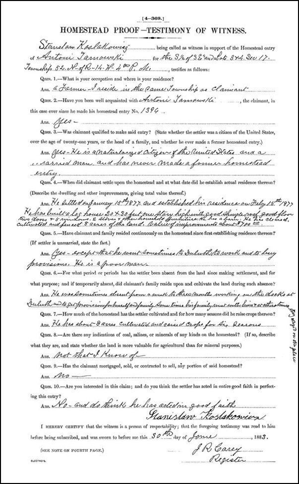 Homestead Testimony, Stanislaw Kolaskowicz
