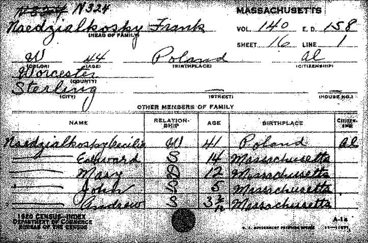 Soundex Card for Frank Niedzialkoski 1920