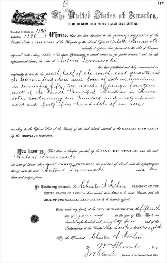 Land Patent for Antoni Tarnowski