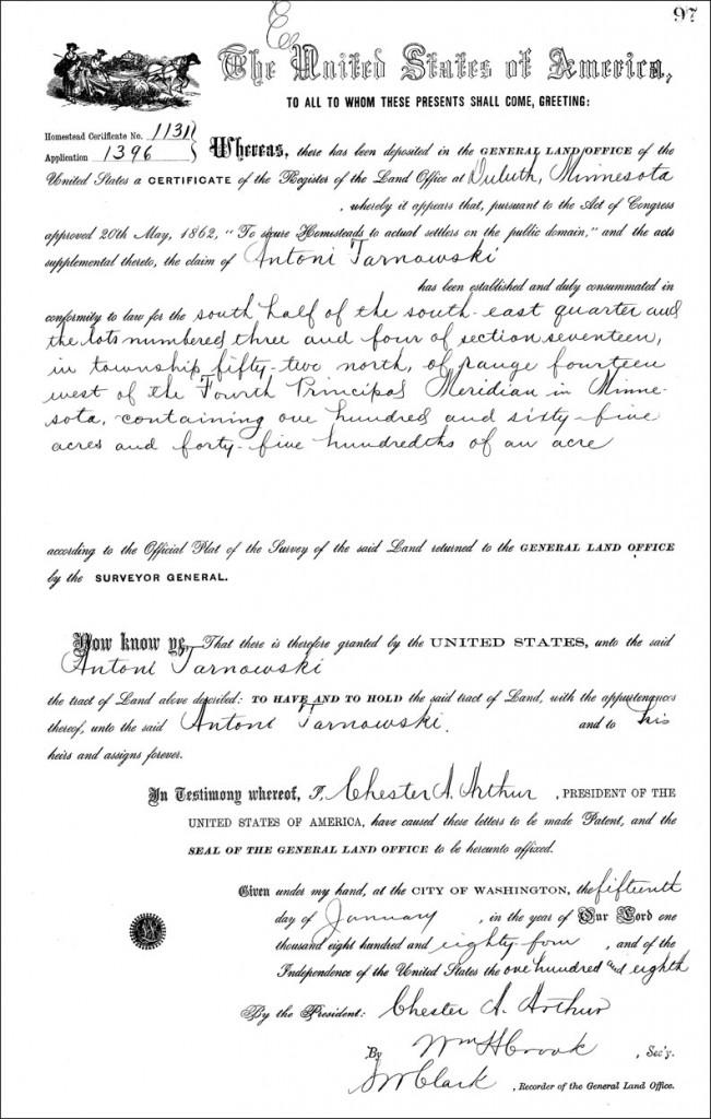 Land Patent of Antoni Tarnowski