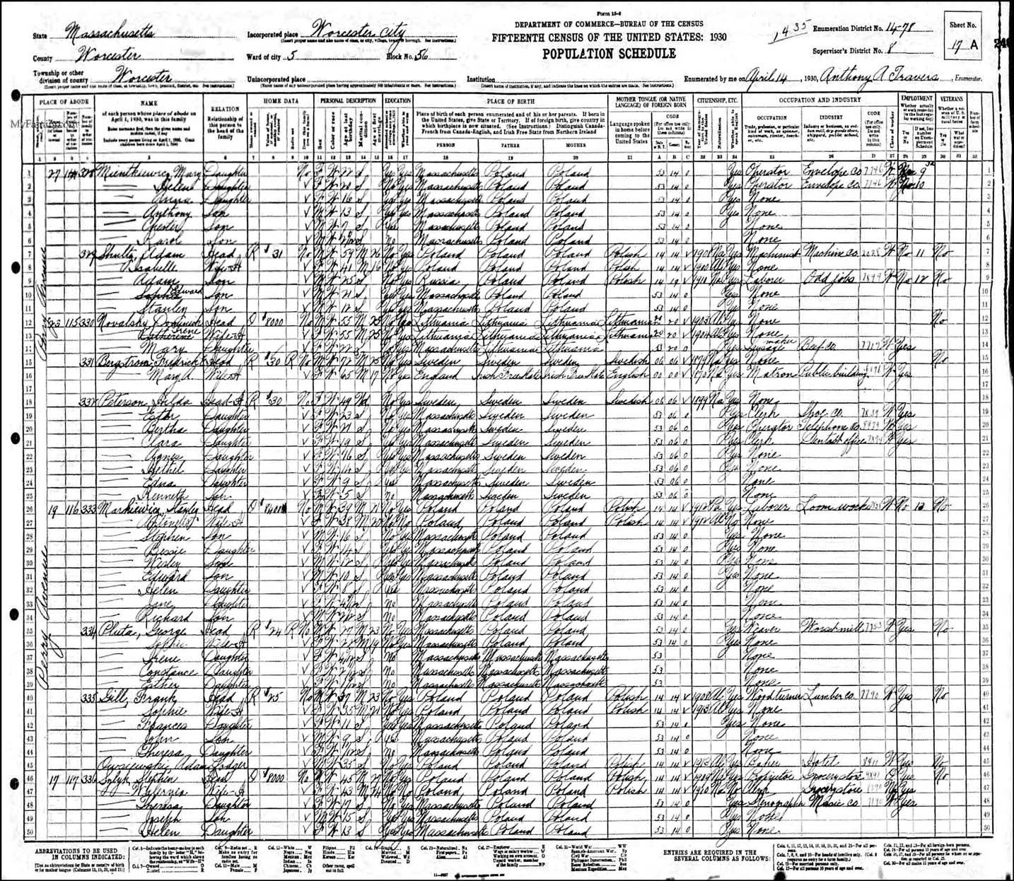 1930 Census Markiewicz