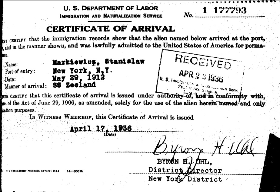 Certificate of Arrival for Stanislaw Markiewicz - Front