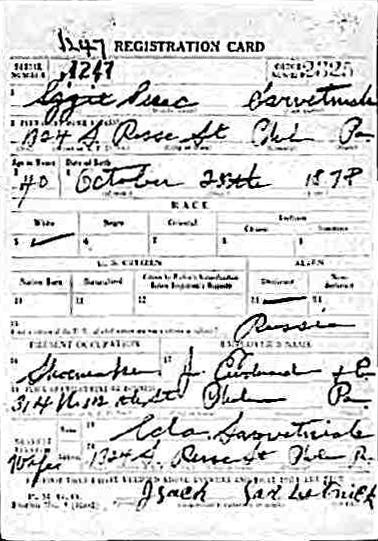 WWI Isaac Sarvetnick F
