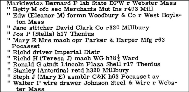 Markiewicz in the 1965 Directory