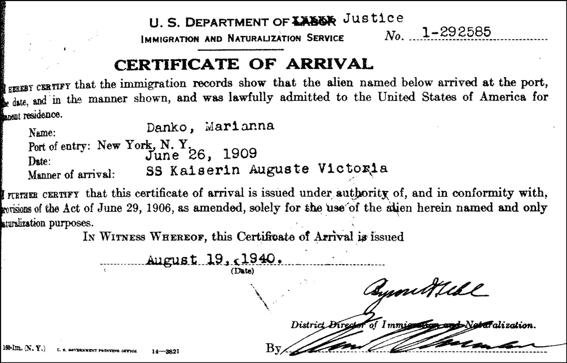 The Certificate of Arrival for Marianna Danko