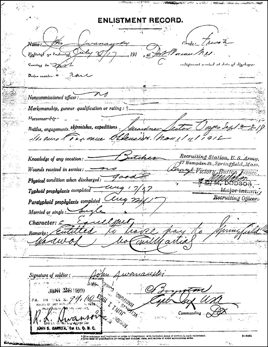 Enlistment Record of John Jwanauski