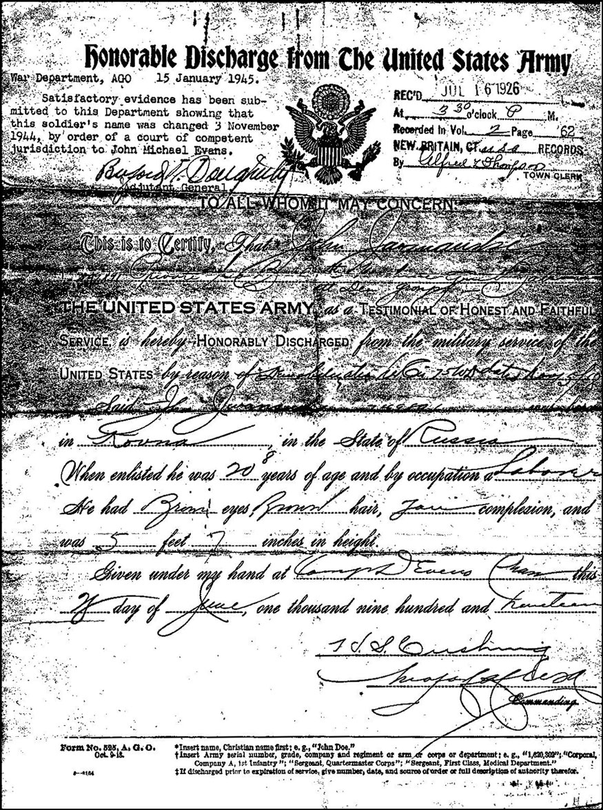 Honorable Discharge of John Jwanauski