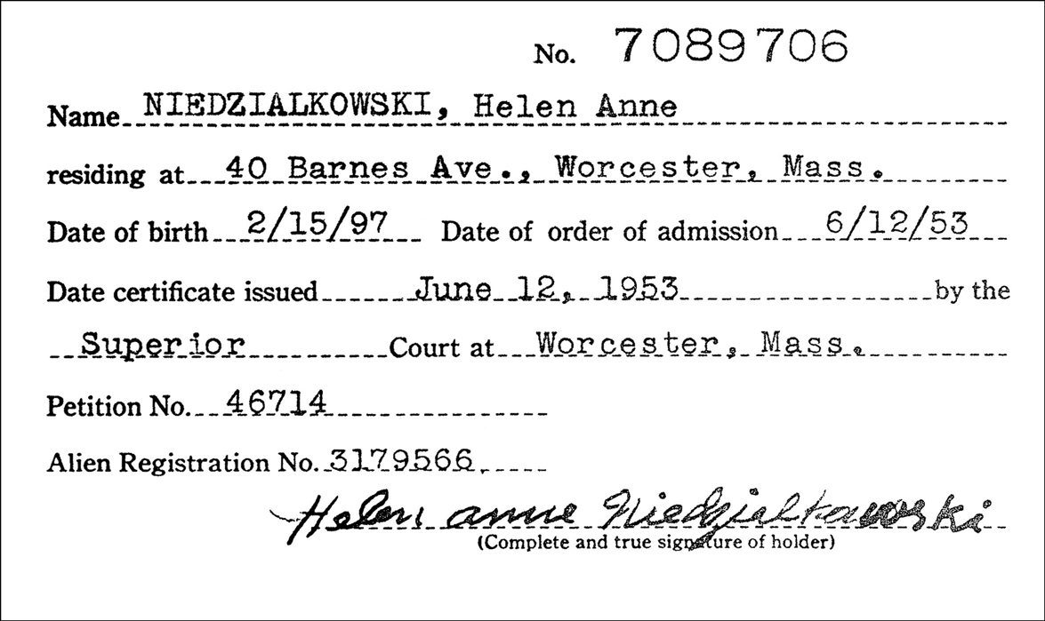 Naturalization Index for Helen Anne Niedzialkowski