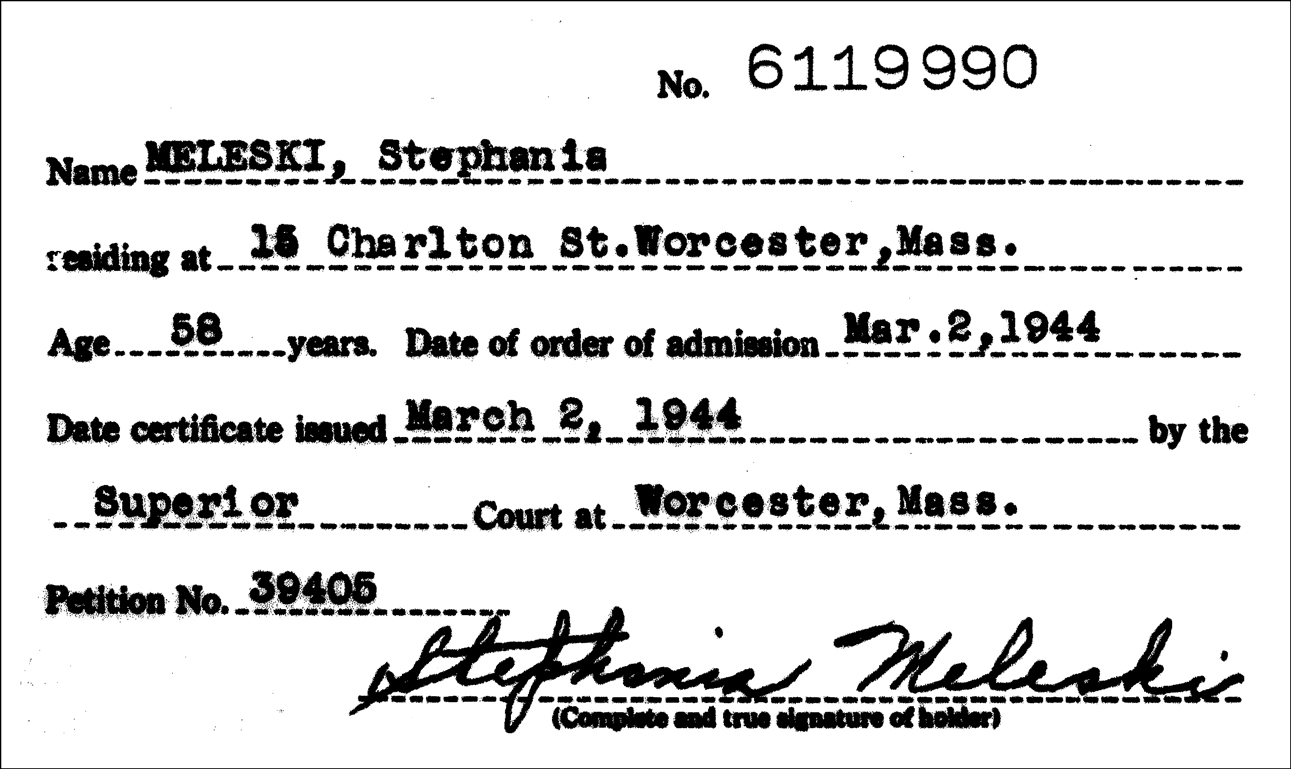 Stephania Meleski's Naturalization Index Card