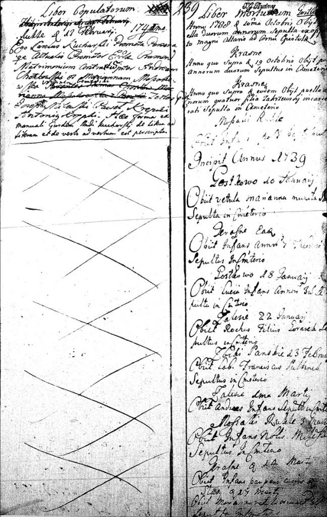 The Marriage Record of Andrzej Chodkowski and Marianna Mossakowska - 1741