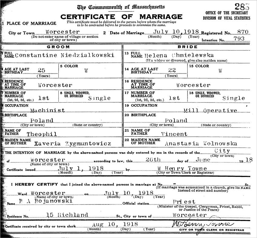 The Marriage Certificate of Constantine Niedzialkowski and Helena Chmielewska