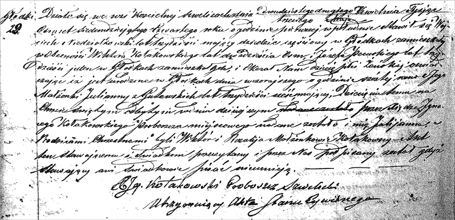 The Birth and Baptismal Record for Julianna Niedzialkowski - Polish