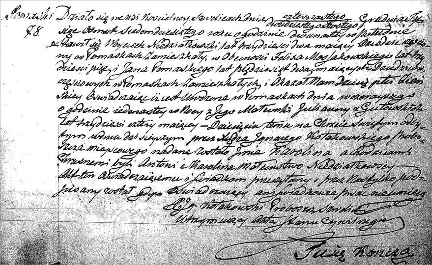Polish Birth and Baptismal Record for Karolina Niedzialkowska