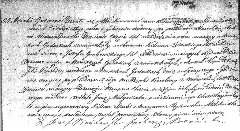 The Birth and Baptismal Record of Małgorzata Niedziałkowska - 1840