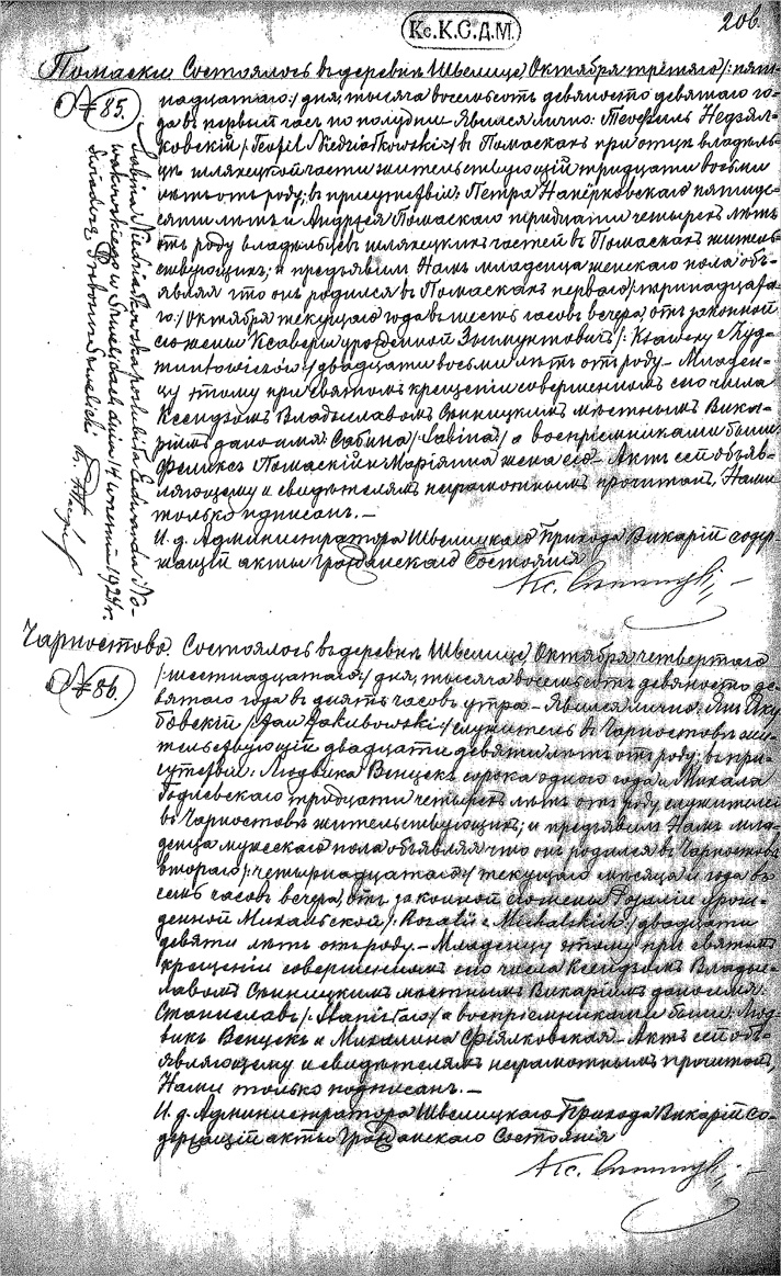 Birth and Baptismal Record for Sabina Niedzialkowska