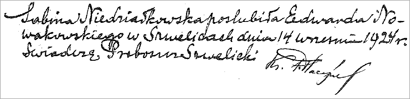 Marginal Notation for the Marriage of Sabina Niedzialkowska