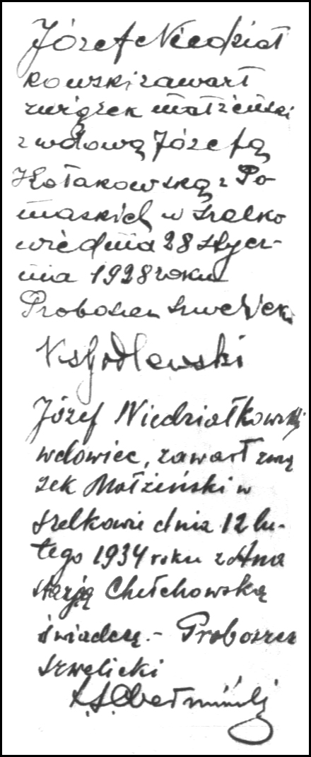 Marginal Marriage Notations in the Birth Record of Józef Niedziałkowski