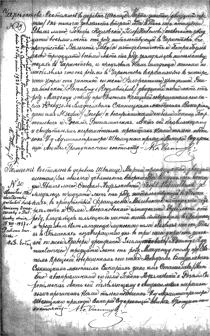 Birth and Baptismal Record of Stanislaw Niedzialkowski
