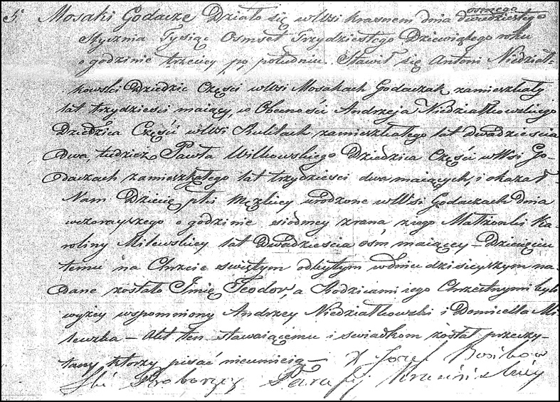 The Birth and Baptismal Record of Teodor Niedziałkowski - 1839