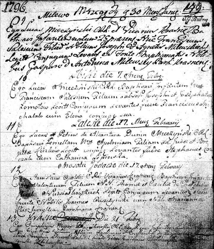 The Birth and Baptismal Record of Walenty Niedziałkowski - 1796