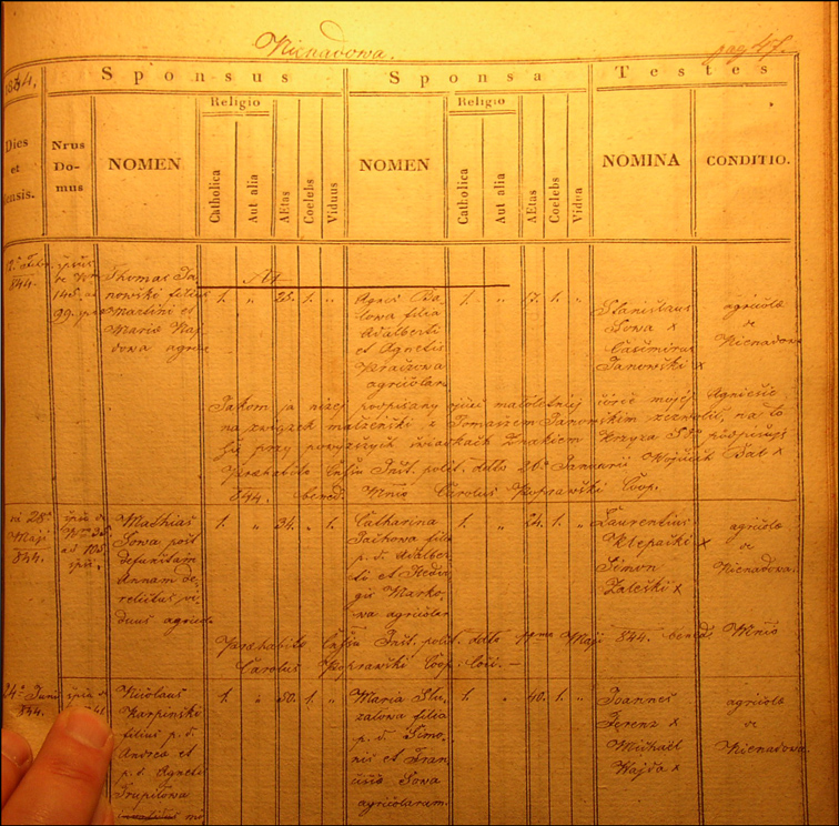 The Marriage Record of Maciej Sowa and Katarzyna Jachowa
