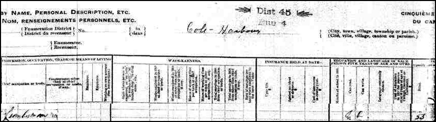 1911 Census Record for John Rawding - Right