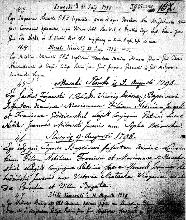 The Birth and Baptismal Record of Anna Niedziałkowska - 1798