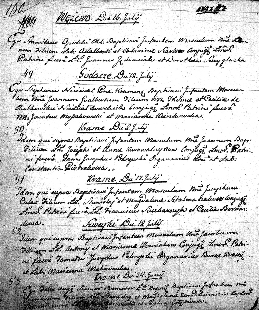 The Birth and Baptismal Record of Jan Wojciech Niedziałkowski - 1797