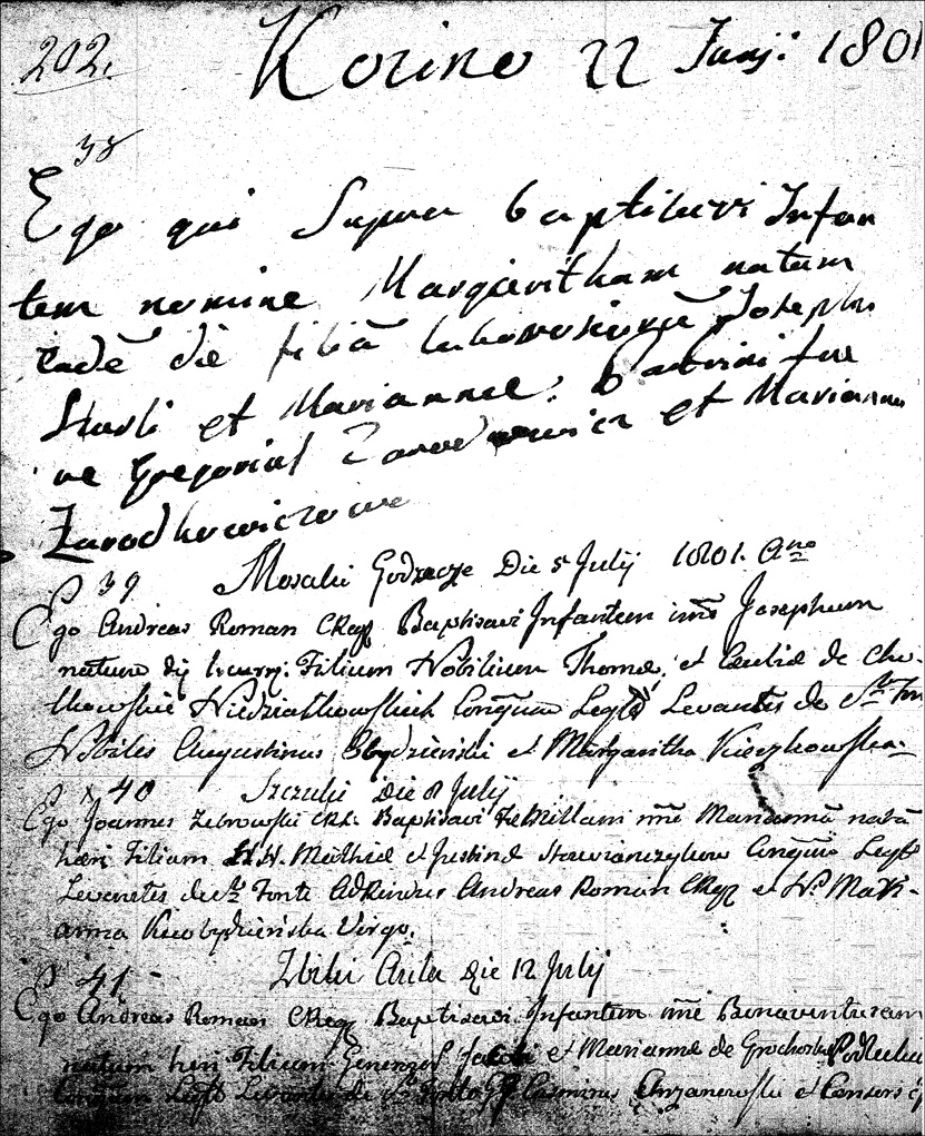 The Birth and Baptismal Record of Józef Niedziałkowski - 1801