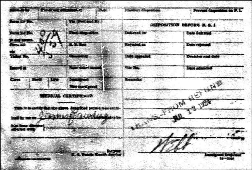 PDF of the Border Crossing Record of James Rawding Back
