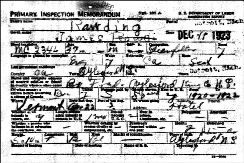 PDF of the Border Crossing Record of James Rawding Front