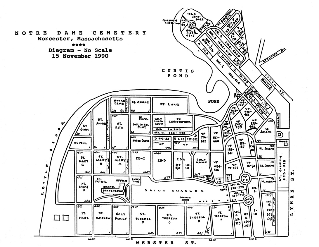 Notre Dame Cemetery Map