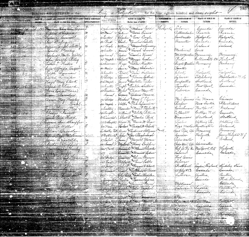 Birth Register for Harry Chmielewski