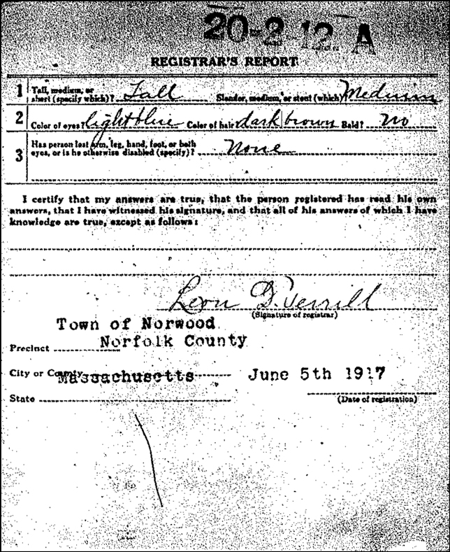 WWI Draft Registration for Allister Rawding - Back