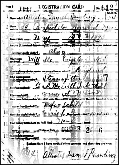 WWI Draft Registration for Allister Rawding - Front